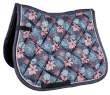 HKM SADDLE PAD- FLOWER POWER - NAVY / PINK -RRP £39.99